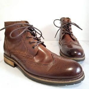 Steve Madden Brown Prestonn Wingtip Ankle Boots